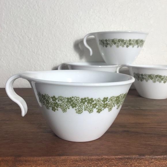 Set 4 Vintage Teacups Corelle Green Daisy Flower